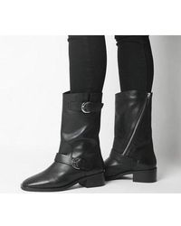 Office Kick- Calf Biker Boot - Black