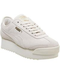 PUMA Synthetic Roma Amor Logo Platform Sneakers in Yellow - Lyst