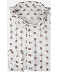 Etro - Regular-fit Overhemd Met Palmboom Print Off-white - Lyst