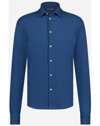 Loro Piana Slim-fit Huck Lace Dyed Piqué Overhemd - Blauw
