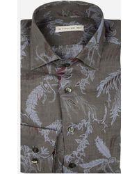 Etro - Linnen Safari Overhemd Donkerbruin - Lyst