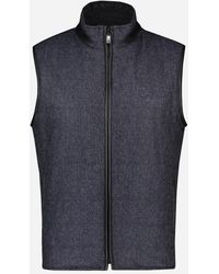 Corneliani - Virgin Wollen Reversible Bodywarmer Marine - Lyst