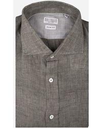 Brunello Cucinelli - Slim-fit Linnen Overhemd Donkergroen - Lyst