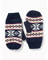 Old Navy Sweater-knit Mittens For Women - Blue