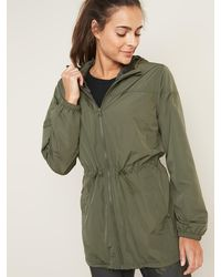 Old Navy Go-h20 Water-resistant Lightweight Hooded Anorak For Women - Green
