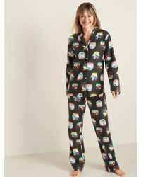 Old Navy Patterned Flannel Pajama Set For Women - Multicolor