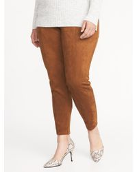 Old Navy - High-rise Plus-size Sueded Stevie Pants - Lyst