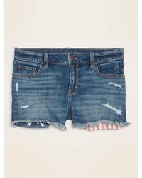 Old Navy Mid-rise Distressed Americana-pocket Boyfriend Jean Cut-off Shorts For Women -- 2.5-inch Inseam - Blue