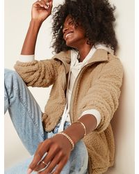 Old Navy Cozy Sherpa Zip-front Jacket - Natural