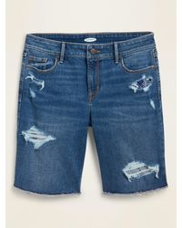Old Navy Mid-rise Distressed Bermuda Cut-off Jean Shorts For Women -- 9-inch Inseam - Blue