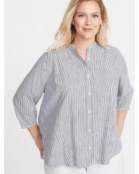 8707f1ddb0d Lyst - Old Navy Striped Banded-collar No-peek Plus-size Shirt in Pink