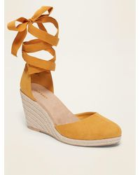 Old Navy Faux-suede Strappy Lace-up Espadrille Wedge Shoes - Multicolor