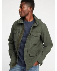 Old Navy - Canvas Built-in Flex Stowaway-hood Military Jacket - Lyst