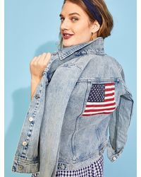 Old Navy American Flag Graphic Jean Jacket For Women - Blue
