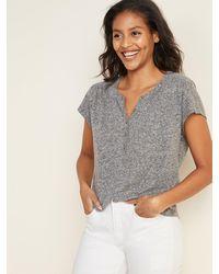 Old Navy Loose Linen-blend Jersey Henley Top - Gray