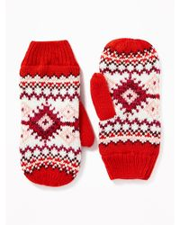 Old Navy Sweater-knit Mittens For Women - Red