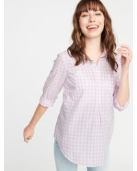 Old Navy Maternity Gingham Popover Shirt - Multicolor