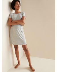 Old Navy Rib-knit Lettuce-edge Nightgown For Women - Gray