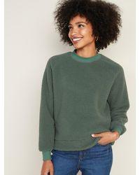 Old Navy Mock-neck Raglan-sleeve Sherpa Sweatshirt For Women - Green