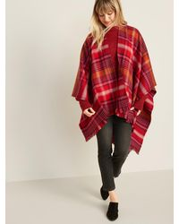Old Navy Plaid Flannel Open-front Poncho For Women - Red