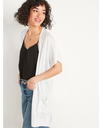 Old Navy Super-long Slub-knit Short-sleeve Open-front Sweater - White