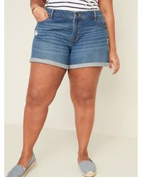Old Navy Mid-rise Distressed Boyfriend Plus-size Jean Shorts -- 5-inch Inseam - Blue