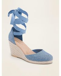 Old Navy Textile Lace-up Espadrille Wedge Shoes - Blue
