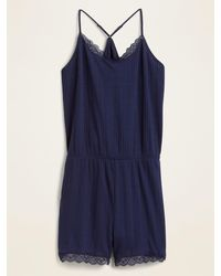 Old Navy Pointelle-knit Lace-trim Pajama Romper For Women - Blue