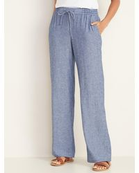 Old Navy Mid-rise Wide-leg Linen-blend Pull-on Pants - Blue
