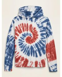 Old Navy Americana Tie-dyed French Terry Unisex Pullover Hoodie - Blue