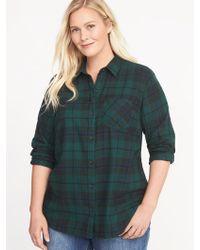 Old Navy - Classic Plaid No-peek Plus-size Twill Shirt - Lyst