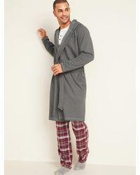 Old Navy Hooded Fleece Tie-belt Robe - Gray