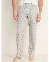 Old Navy Patterned Poplin Pajama Pants - Gray