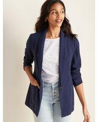 Old Navy Linen-blend Blazer - Blue