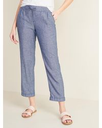 Old Navy Mid-rise Cropped Linen-blend Pants - Blue