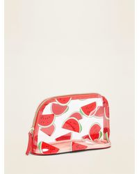 Old Navy Clear Vinyl Dome-shaped Cosmetic Bag For Women - Red