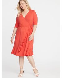 06ab560043e120 Lyst - Old Navy Waist-defined Plus-size Wrap-front Dress in Green