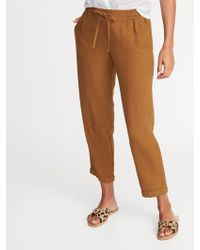 Old Navy Mid-rise Linen-blend Straight-leg Cropped Pants - Brown