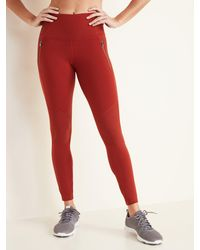 Old Navy High-waisted Zip-pocket Side-rib Elevate 7/8-length Leggings - Red