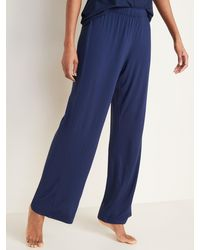 Old Navy Straight Jersey-knit Pajama Pants For Women - Blue