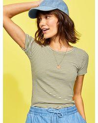 Old Navy Slim-fit Striped Rib-knit Tee - Green