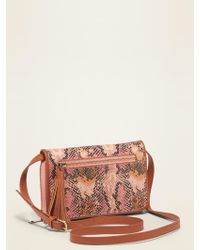 Old Navy Faux-leather Crossbody Wallet Bag For Women - Pink