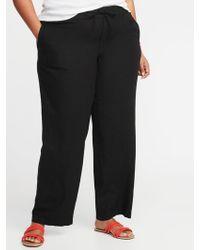 8a759769e8716 Lyst - Old Navy Plus-size Linen-blend Wide-leg Soft Pants in Black