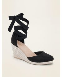 Old Navy Faux-suede Espadrille Wedges For Women - Black