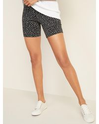 Old Navy High-waisted Cheetah-print Jersey Biker Shorts For Women -- 7-inch Inseam - Black