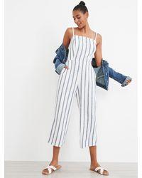 Old Navy Striped Linen-blend Cami Jumpsuit - Blue