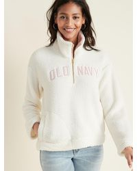 Old Navy - Logo-graphic 1/2-zip Sherpa Pullover For Women - Lyst