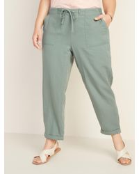 Old Navy Mid-rise Plus-size Pull-on Soft Cropped Utility Pants - Green