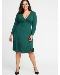 Old Navy - Fit & Flare Plus-size Faux-wrap Dress - Lyst