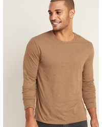Old Navy Soft-washed Crew-neck Long-sleeve Tee For Men - Brown